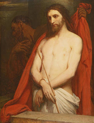 Christ With The Reed Oil On Canvas Poster by Ary Scheffer