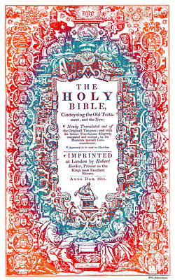 Christian Art- Modern Art Cover Of 1611 King James Bible Poster by Mark Lawrence
