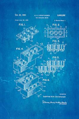 Christiansen Lego Toy Building Block Patent Art 2 1961 Blueprint Poster by Ian Monk