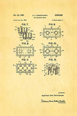 Christiansen Lego Toy Building Block Patent Art 2 1961 Poster by Ian Monk