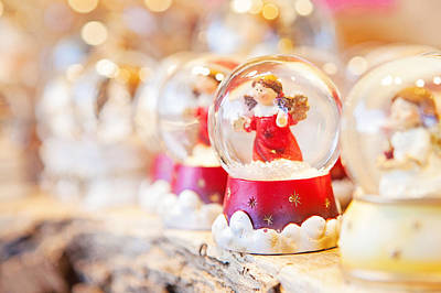 Christmas Angel Snow Globe  Poster by Susan Schmitz