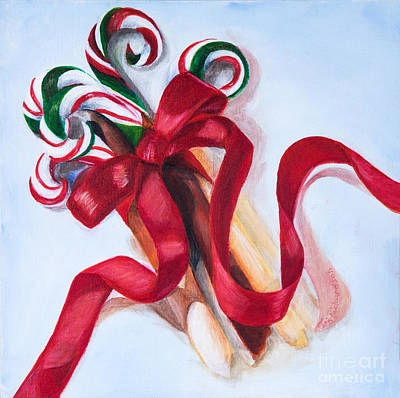 Christmas Candycanes Poster by Iris Richardson