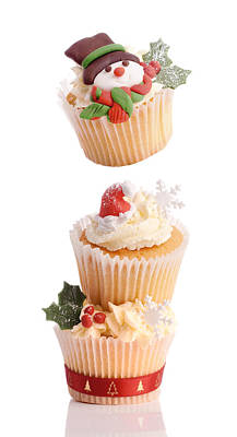 Christmas Cupcake Tower Poster by Amanda And Christopher Elwell