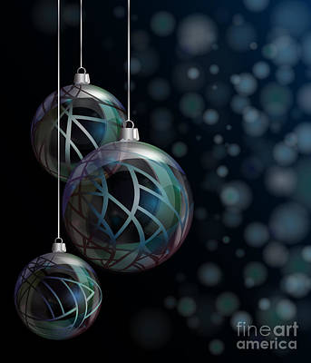 Christmas Elegant Glass Baubles Poster by Jane Rix