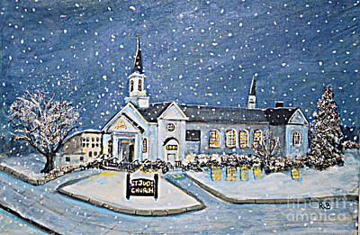 Christmas Eve At St. Jude Church Poster by Rita Brown