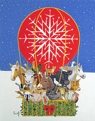 Christmas Journey Oil On Canvas Poster by Pat Scott