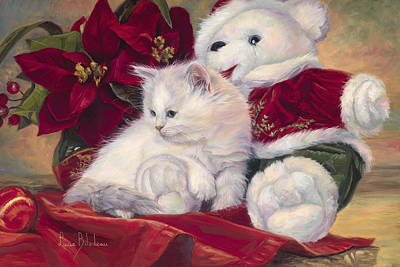 Christmas Kitten Poster by Lucie Bilodeau