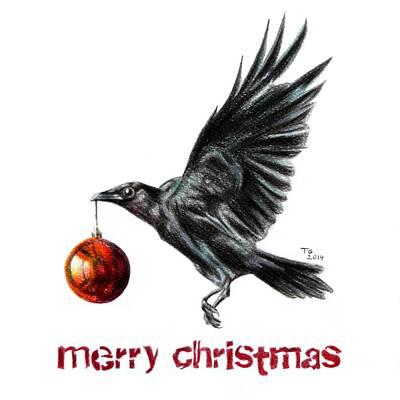Christmas Raven Card Poster by Tiago Azevedo