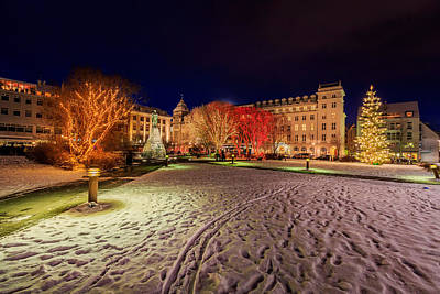 Christmas Time At Austurvollur Poster by Panoramic Images