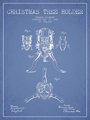 Christmas Tree Holder Patent From 1880 - Light Blue Poster by Aged Pixel