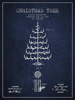 Christmas Tree Patent From 1882 - Navy Blue Poster by Aged Pixel