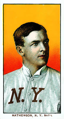 Christy Mathewson New York Giants Baseball Card 0100 Poster by Wingsdomain Art and Photography
