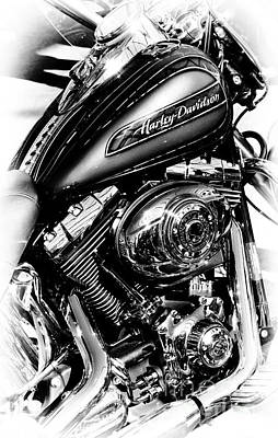 Chromed Harley Monochrome Poster by Tim Gainey