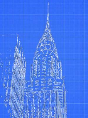 Chrysler Building Blueprint Sketch Poster by Dan Sproul