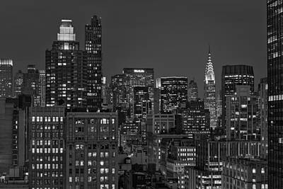 Chrysler Building Twilight Bw Poster by Susan Candelario