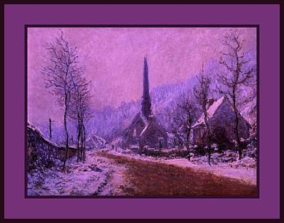 Church At Jeufosse Snowy Weather Enhanced Triple Border Poster by Claude Monet - L Brown