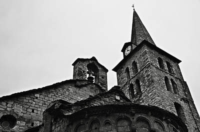 Church Of The Assumption Of Mary In Bossost - Abse And Tower Bw Poster by RicardMN Photography
