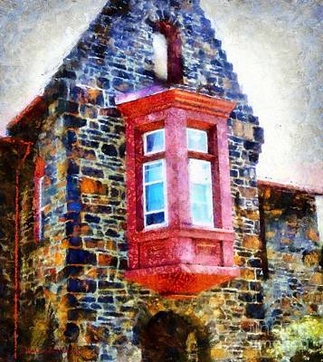 Church - Red Window Bethlehem Pa Poster by Janine Riley