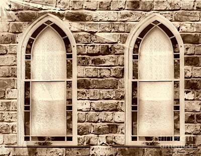 Church Windows Sepia 1 Poster by Cheryl Young