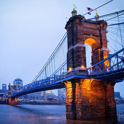 Cincinnati And Robeling Suspension Bridge At Twilight Poster by Tanya Harrison