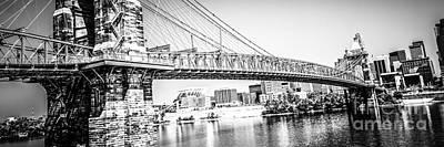 Cincinnati Bridge Retro Panorama Photo Poster by Paul Velgos
