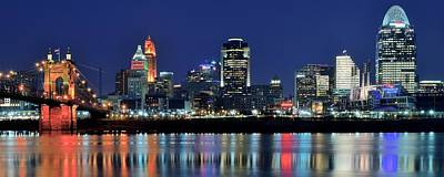 Cincinnati Ohio At Night Poster by Frozen in Time Fine Art Photography