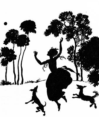Cinderella Playing With Her Dogs Poster by Arthur Rackham