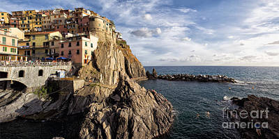 Cinque Terre Town On The Cliff Poster by George Oze