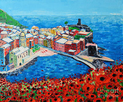 Cinque Terre Vernazza Poppies Poster by Ana Maria Edulescu
