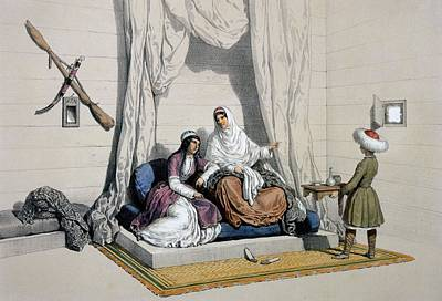 Circassian Princesses, On The Right Poster by Francois Fortune Antoine Ferogio