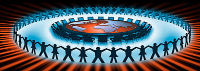 Circle Of People Around A Table Poster by Panoramic Images