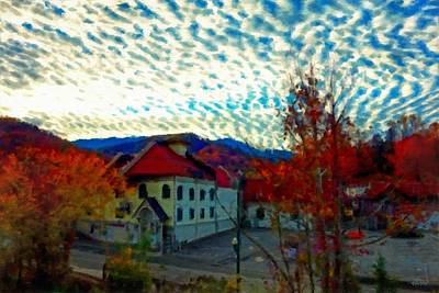 Cirrus Clouds Over Gatlinburg Poster by Rebecca Korpita