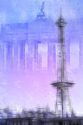 City-art Berlin Radio Tower And Brandenburg Gate Blue/pink Poster by Melanie Viola