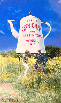 City Cafe - Nostalgic Monroe North Carolina Poster by Mark E Tisdale