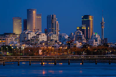 city lights and blue hour at Tel Aviv Poster by Ron Shoshani