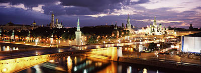 City Lit Up At Night, Red Square Poster by Panoramic Images