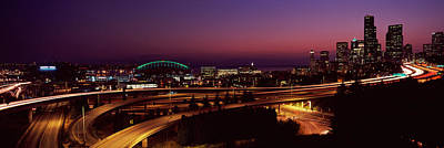 City Lit Up At Night, Seattle, King Poster by Panoramic Images