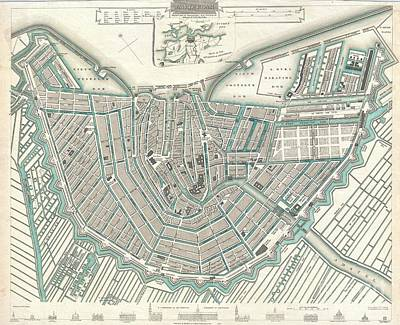 City Map Or Plan Of Amsterdam Poster by Paul Fearn