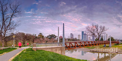 City Of Houston Skyline Panorama From Buffalo Bayou Park Poster by Silvio Ligutti