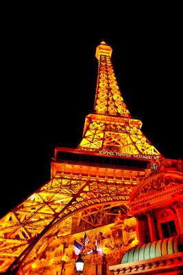 City - Vegas - Paris - Eiffel Tower Restaurant Poster by Mike Savad