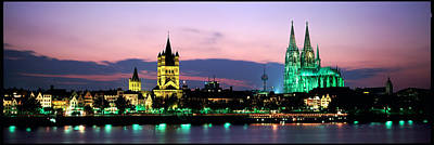 Cityscape At Dusk, Cologne, Germany Poster by Panoramic Images