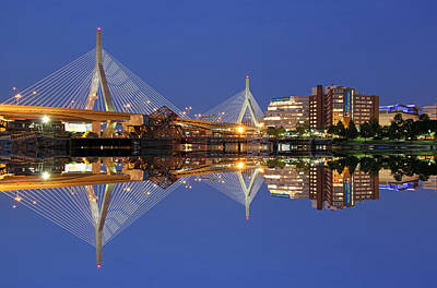 Cityscape Reflection Of The Boston Zakim Bridge Poster by Juergen Roth