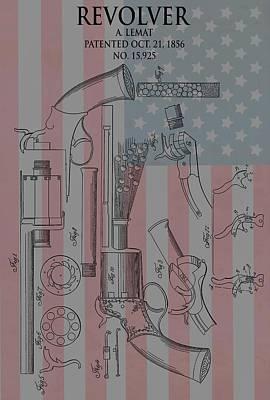 Civil War Revolver American Flag Poster by Dan Sproul