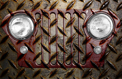 Civilian Jeep- Maroon Poster by Luke Moore