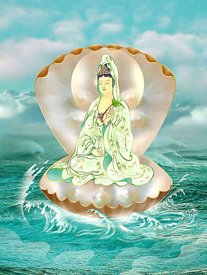 Clam-sitting Kuan Yin Poster by Lanjee Chee