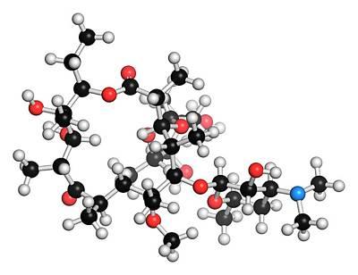 Clarithromycin Antibiotic Molecule Poster by Molekuul