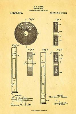 Clark Confetti Bomb Patent Art 1914 Poster by Ian Monk