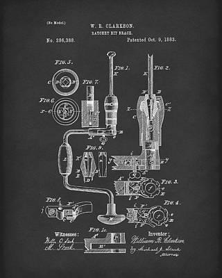 Clarkson Bit Brace 1883 Patent Art Black Poster by Prior Art Design