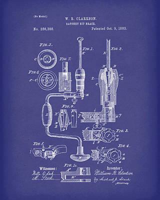 Clarkson Bit Brace 1883 Patent Art Blue Poster by Prior Art Design