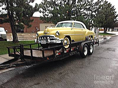 Rainy Day Classic 1952 Deluxe Chevy 2 Door Coupe Poster by Richard W Linford
